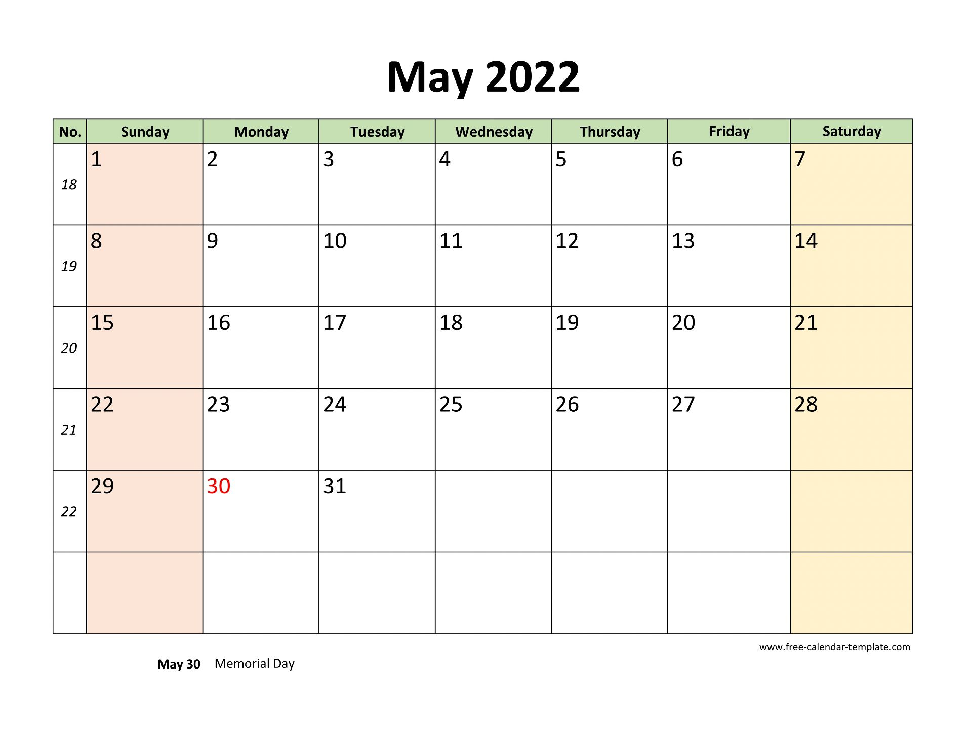 May 2022 Calendar Printable With Coloring On Weekend Horizontal Free Calendar Template Com