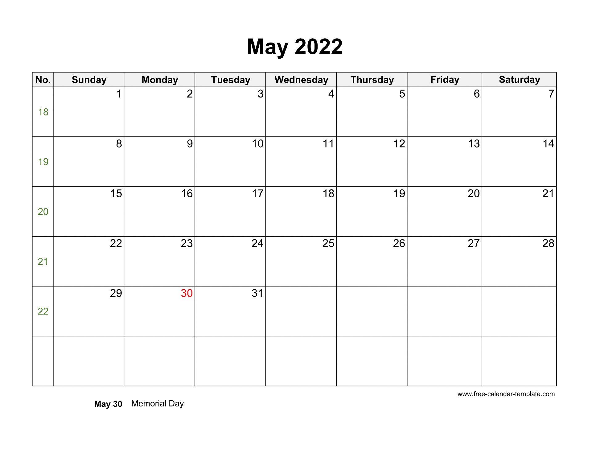 Free 2022 Calendar Blank May Template (horizontal) | Free ...