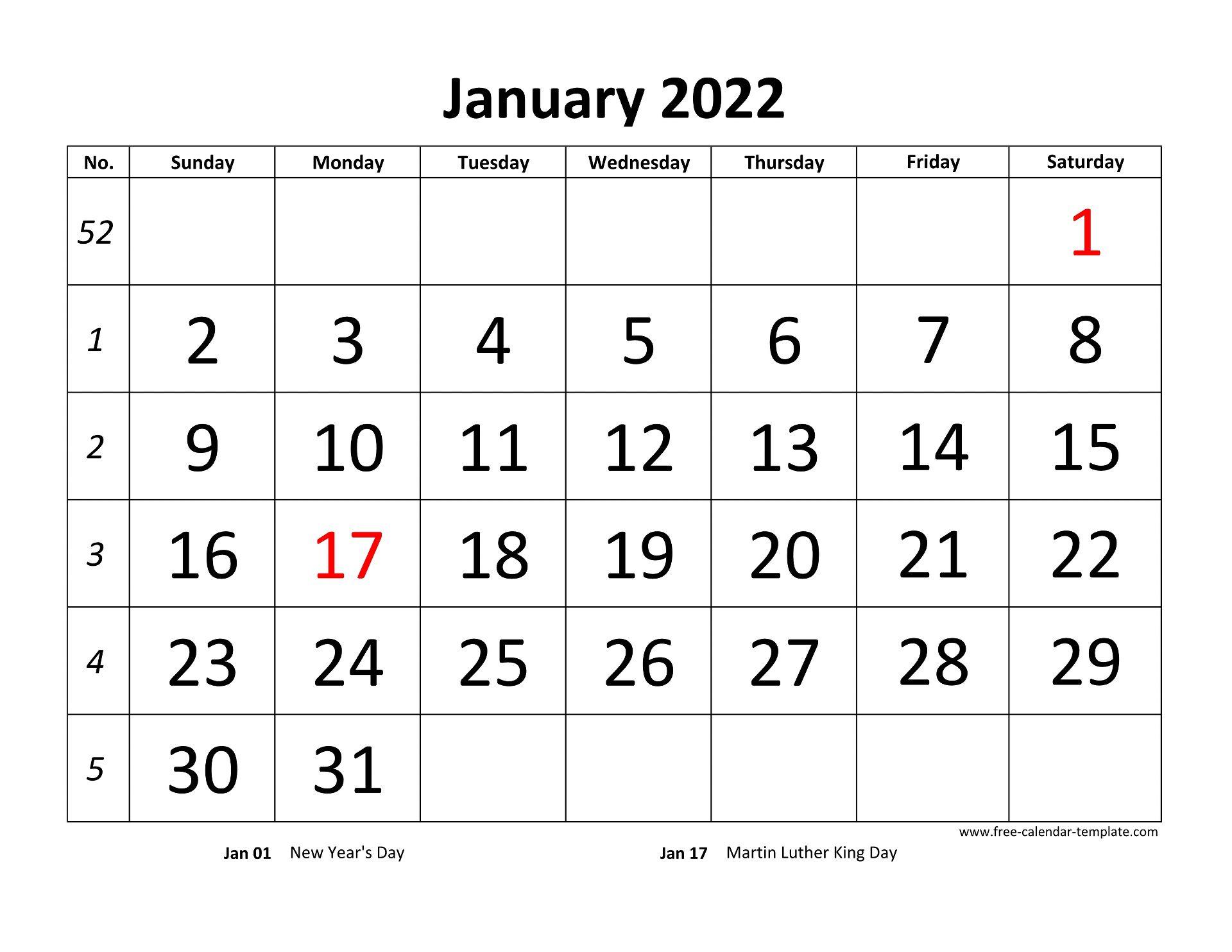 Printable Monthly Calendar 2022 | Free-calendar-template.com
