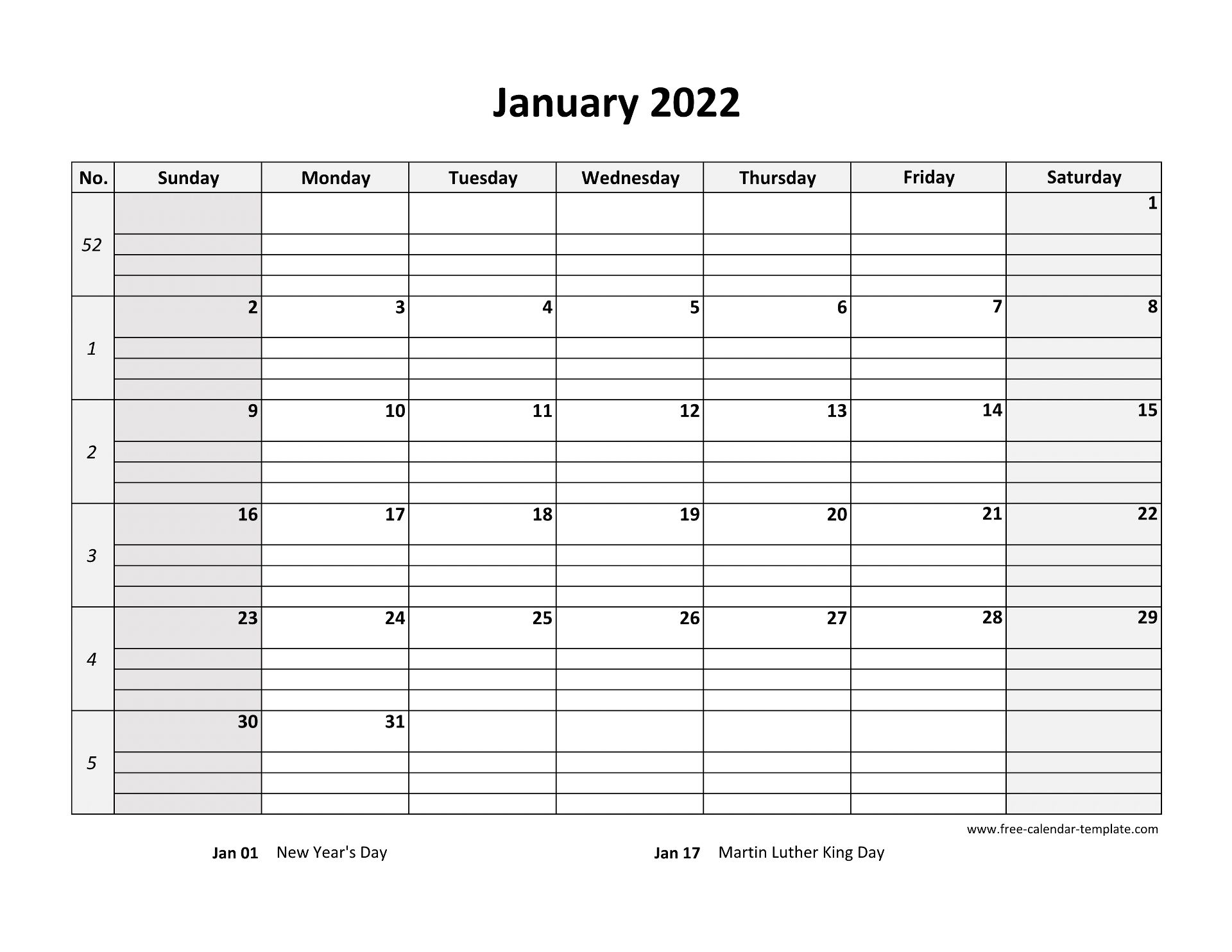 Monthly 2022 Calendar Free Printable with grid lines ...