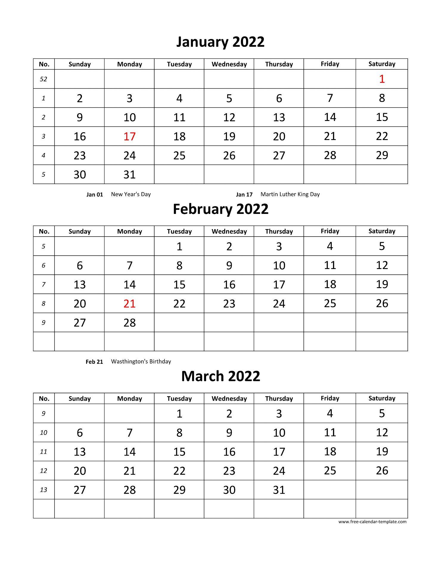 3 Month Calendar 2022.Free Monthly Calendar 2022 3 Months Per Page Vertical Free Calendar Template Com