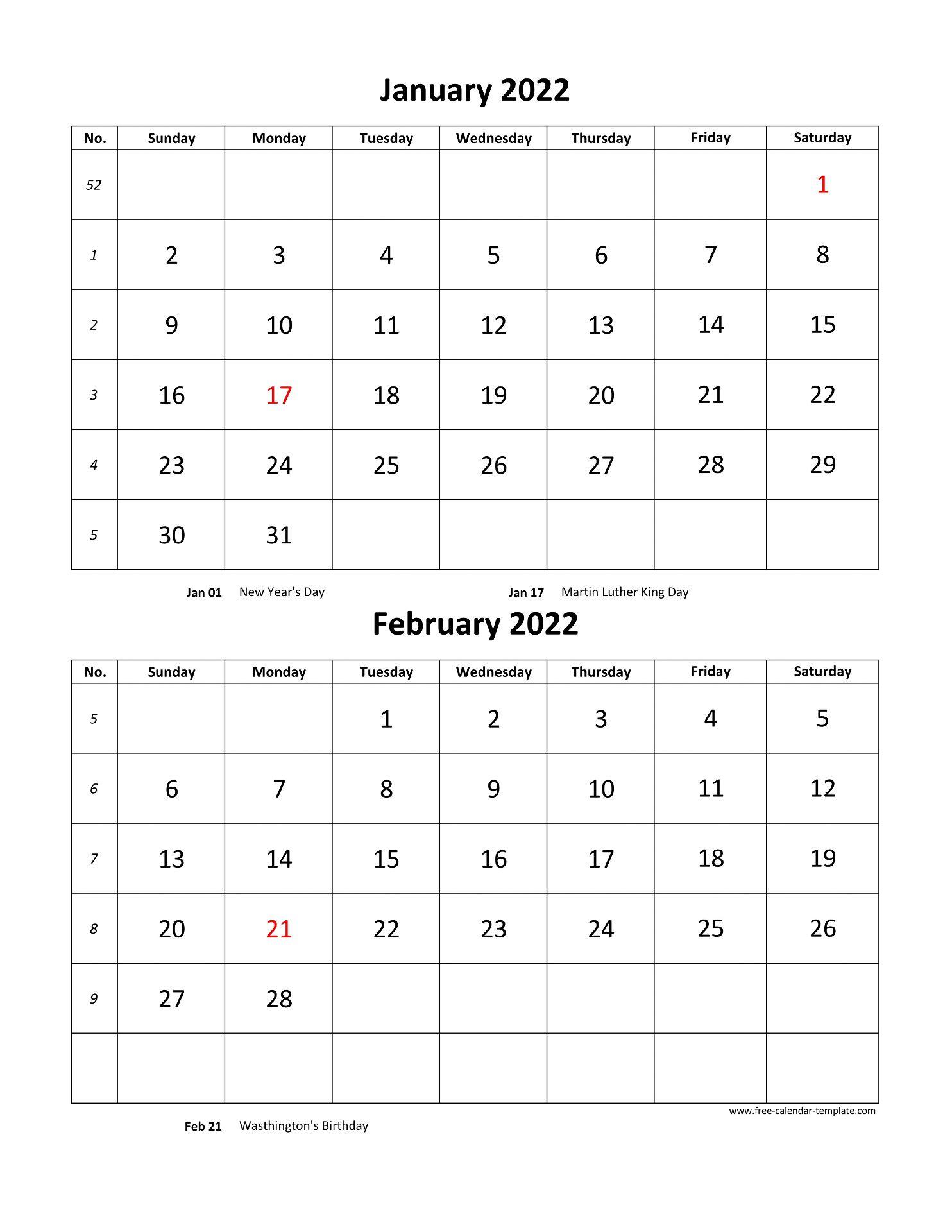 2 Month Calendar 2022.Monthly Calendar 2022 2 Months Per Page Vertical Free Calendar Template Com