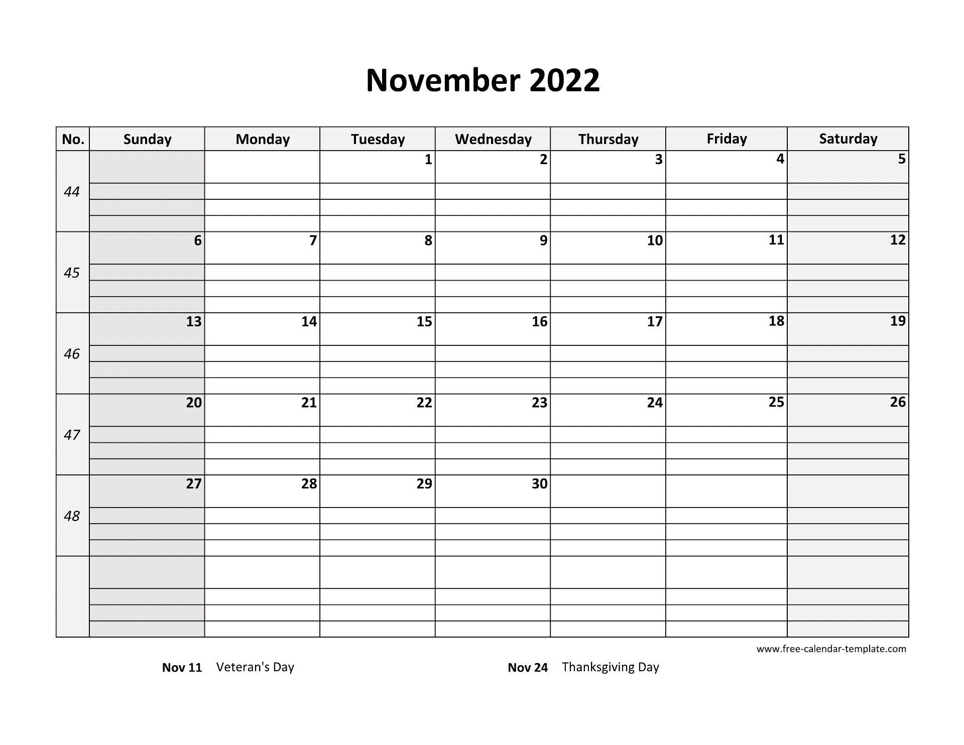 November 2022 Calendar Free Printable with grid lines ...