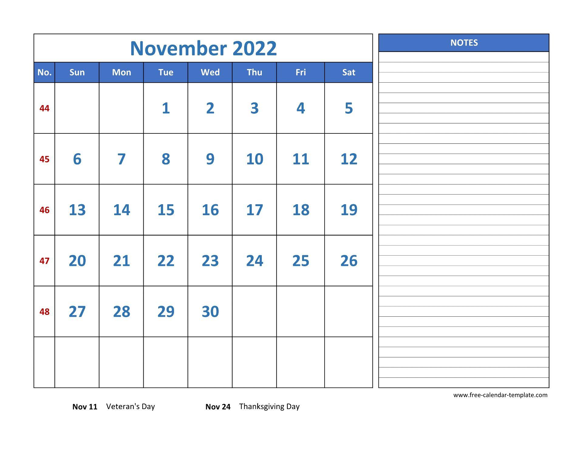 Free November 2022 Calendar.November Calendar 2022 Grid Lines For Holidays And Notes Horizontal Free Calendar Template Com