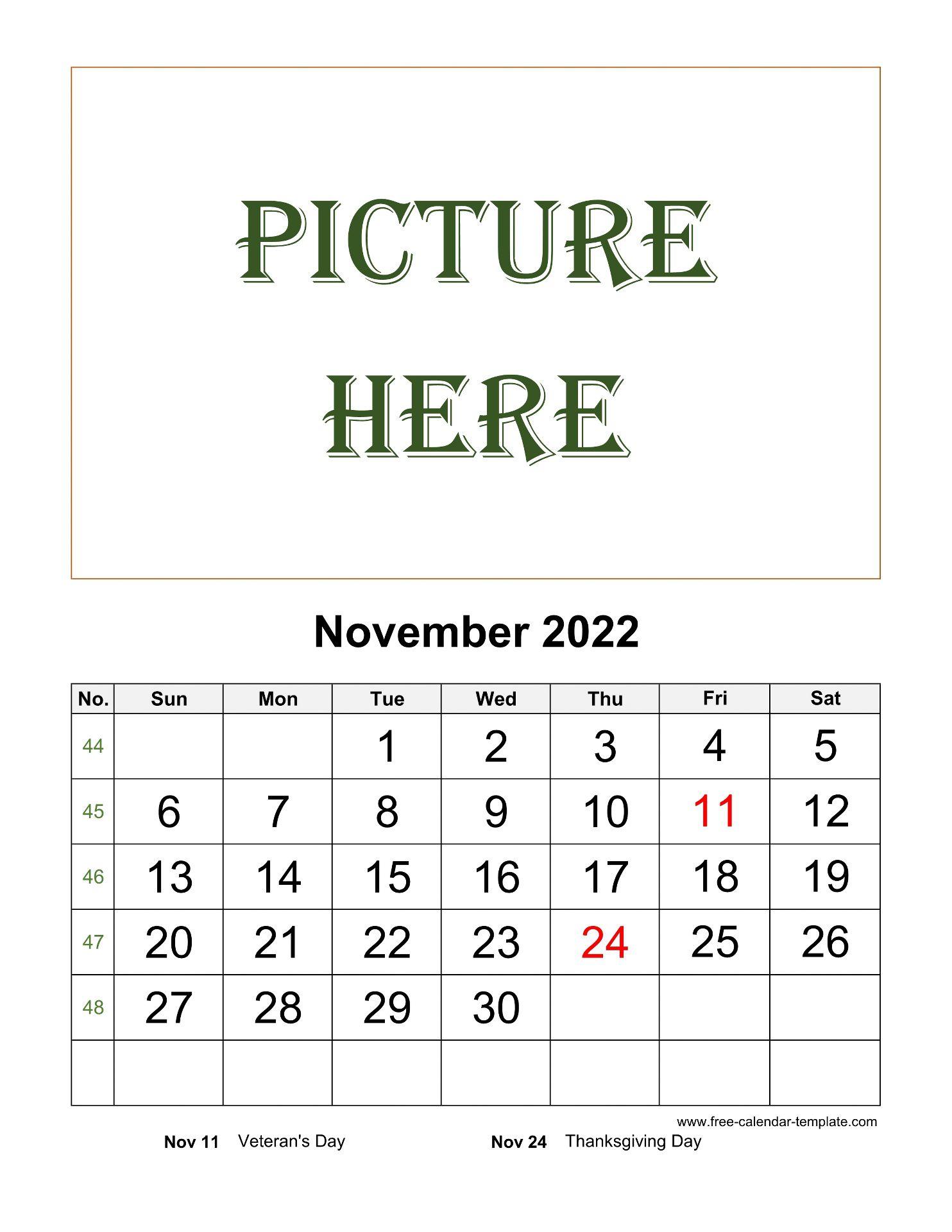 Printable Calendar 2022 November.November Printable 2022 Calendar Space For Add Picture Vertical Free Calendar Template Com