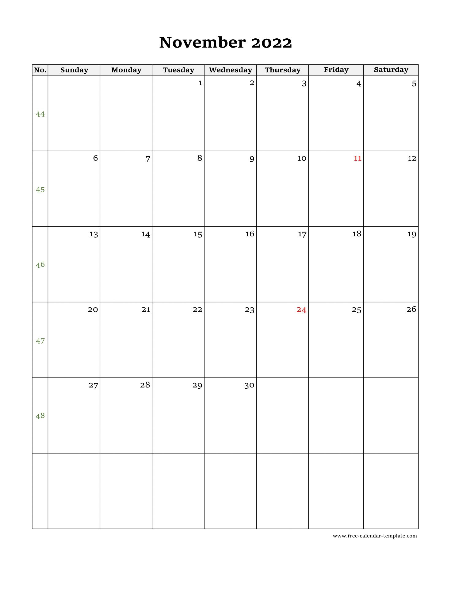Calendar 2022 November.November Calendar 2022 Simple Design With Large Box On Each Day For Notes Free Calendar Template Com