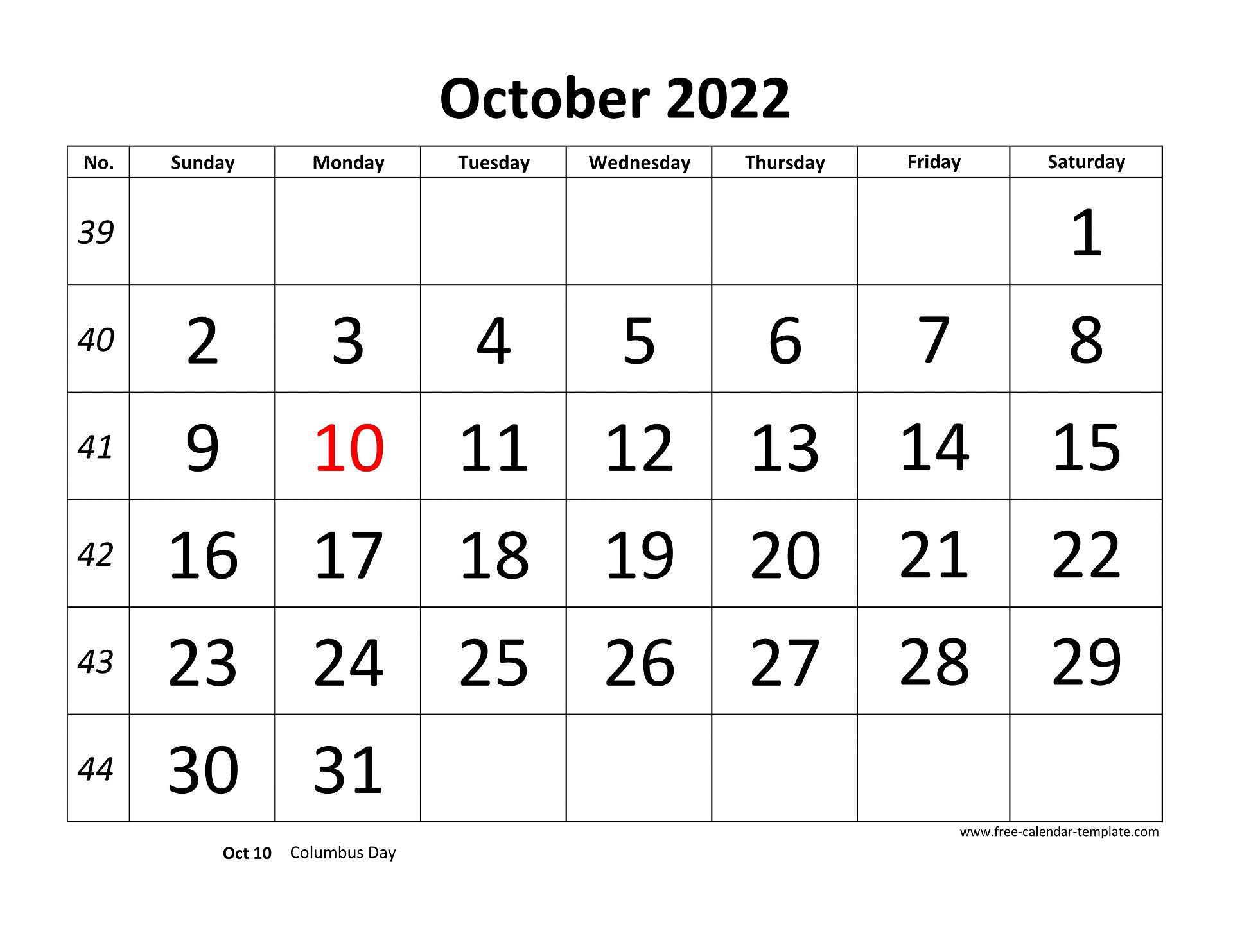 October 2022 Calendar.October 2022 Calendar Designed With Large Font Horizontal Free Calendar Template Com