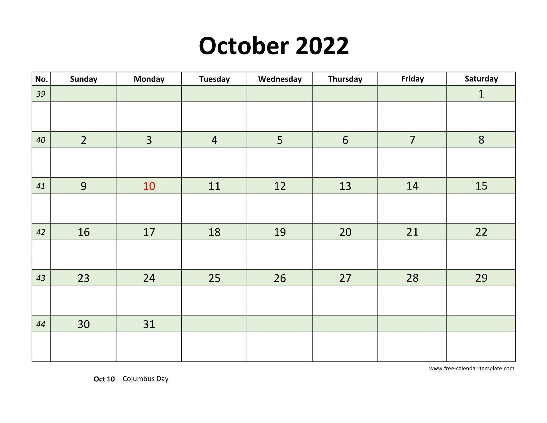 September October 2022 Calendar.Free October 2022 Calendar Coloring On Each Day Horizontal Free Calendar Template Com