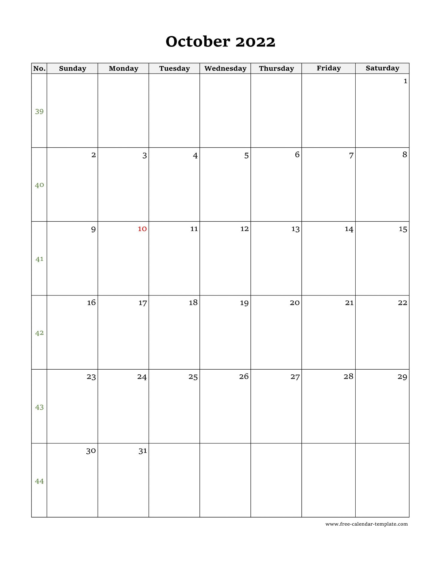 2022 Calendar October.October Calendar 2022 Simple Design With Large Box On Each Day For Notes Free Calendar Template Com
