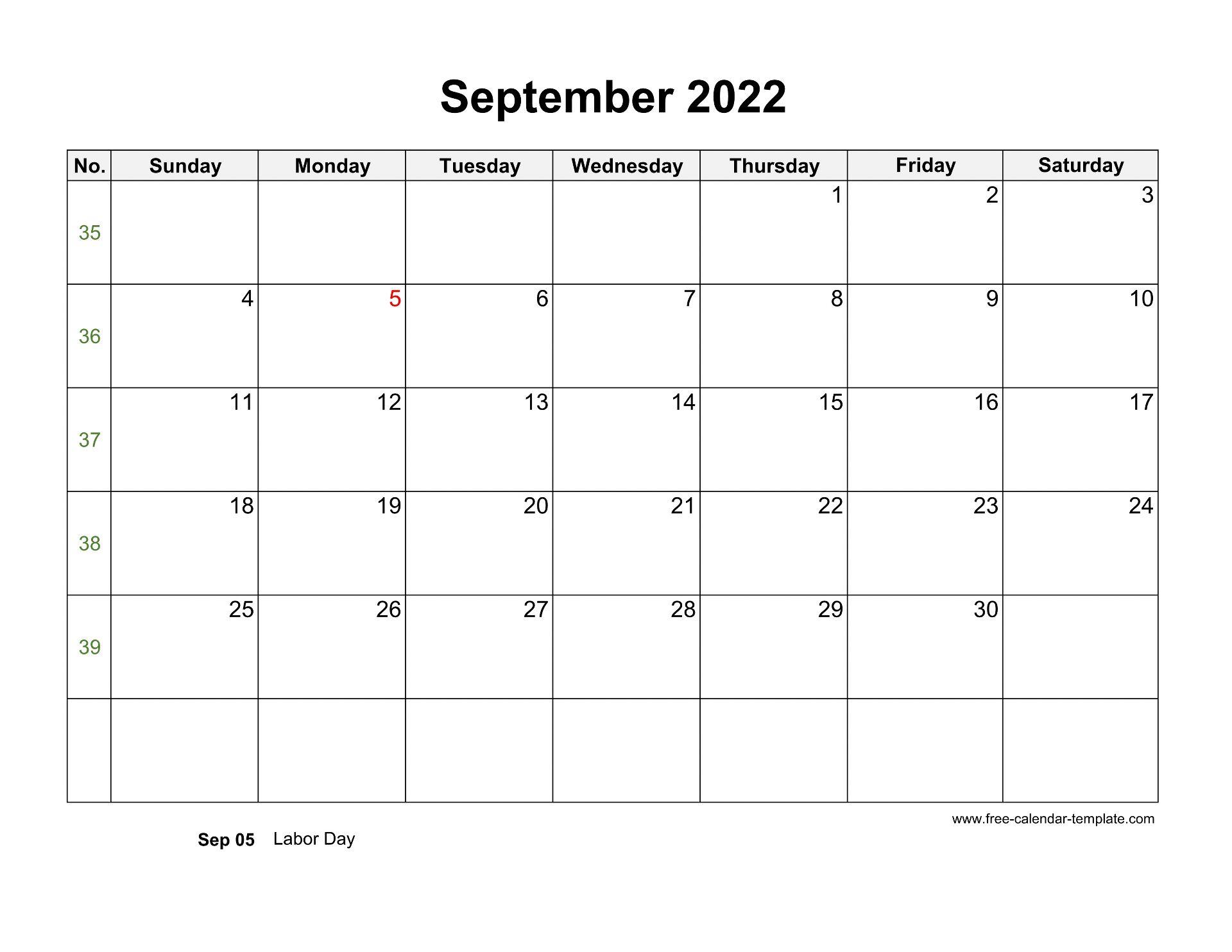 Blank September 2022 Calendar.Free 2022 Calendar Blank September Template Horizontal Free Calendar Template Com