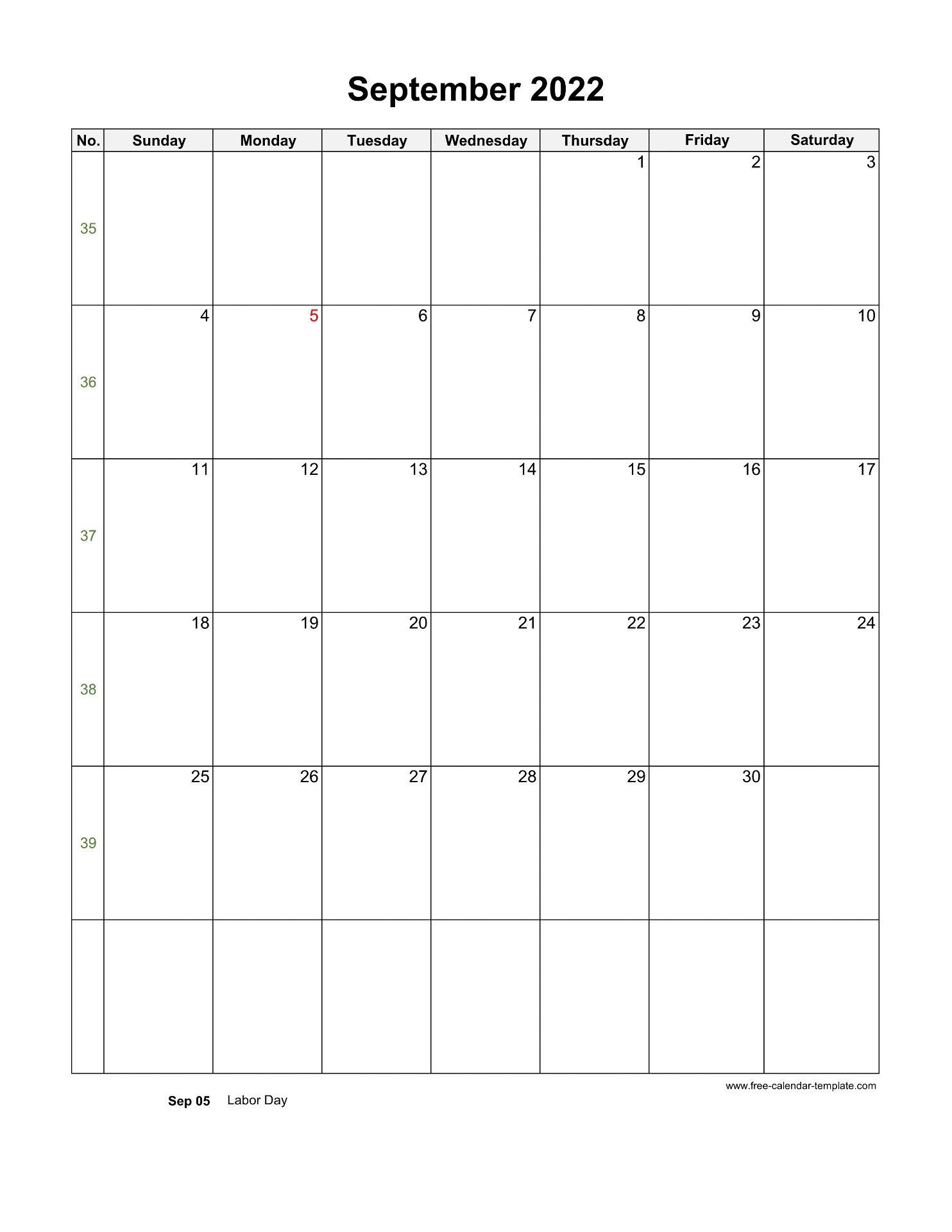 September 2022 Calendar Wallpaper.2022 September Calendar Blank Vertical Template Free Calendar Template Com