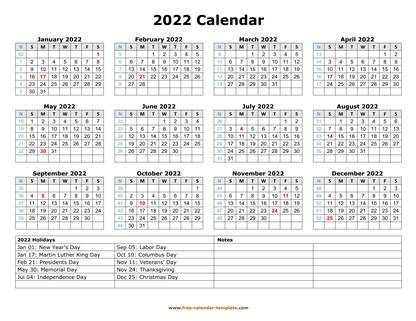 2022 calendar holidays bottom horizontal