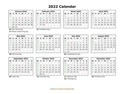 2022 calendar holidays month horizontal