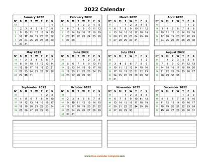 2022 calendar notes horizontal