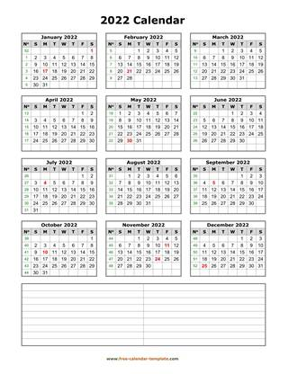 2022 calendar notes vertical