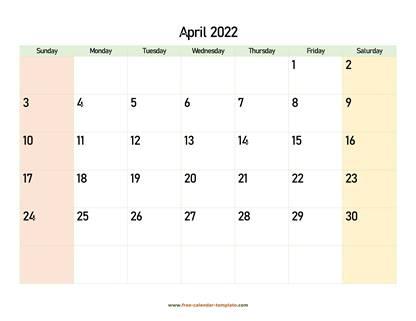April Blank Calendar 2022.2022 April Calendar Blank Vertical Template Free Calendar Template Com
