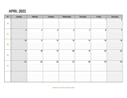 april 2022 calendar daygrid horizontal