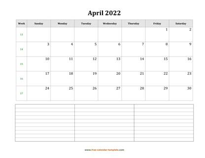 april 2022 calendar notes horizontal