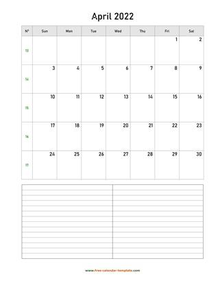 april 2022 calendar notes vertical