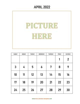 april 2022 calendar picture vertical