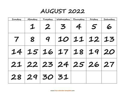August 2022 Calendar.August 2022 Free Calendar Tempplate Free Calendar Template Com