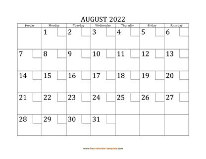 august 2022 calendar checkboxes horizontal
