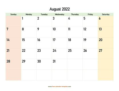 august 2022 calendar colored horizontal