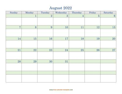 august 2022 calendar daycolored horizontal