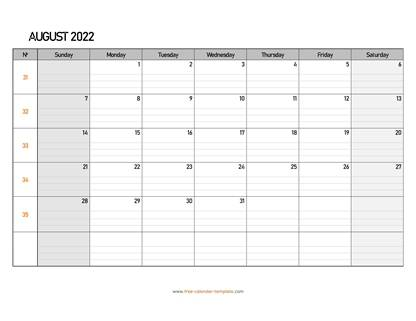 august 2022 calendar daygrid horizontal