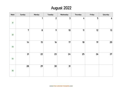 august 2022 calendar holidays horizontal