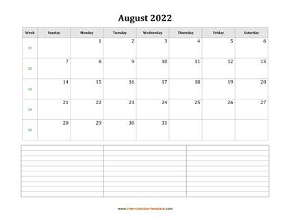 august 2022 calendar notes horizontal