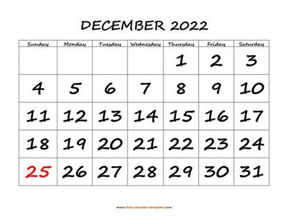 december 2022 calendar bigfont horizontal