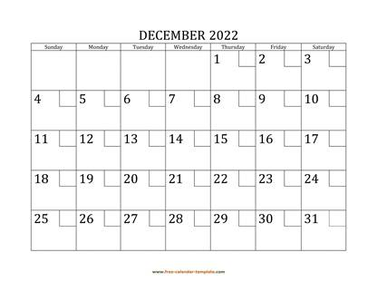 december 2022 calendar checkboxes horizontal