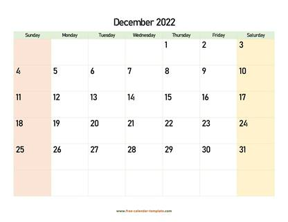 december 2022 calendar colored horizontal