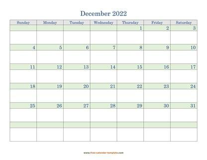 december 2022 calendar daycolored horizontal