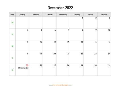december 2022 calendar holidays horizontal