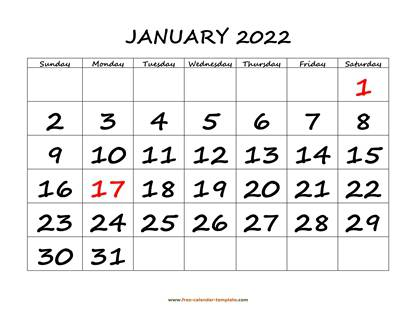 january 2022 calendar bigfont horizontal