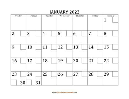 january 2022 calendar checkboxes horizontal
