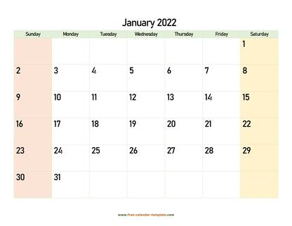 january 2022 calendar colored horizontal