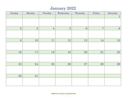 january 2022 calendar daycolored horizontal