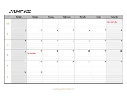 january 2022 calendar daygrid horizontal