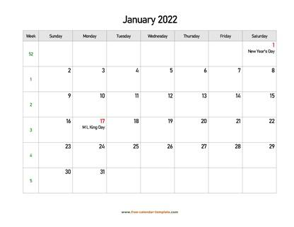 january 2022 calendar holidays horizontal