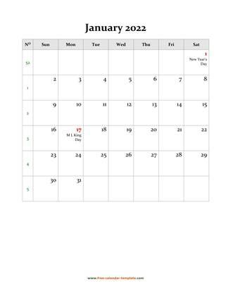 january 2022 calendar holidays vertical