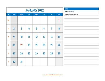 january 2022 calendar largenotes horizontal