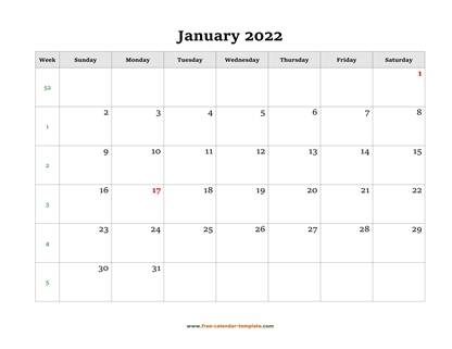 january 2022 calendar simple horizontal
