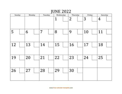 june 2022 calendar checkboxes horizontal
