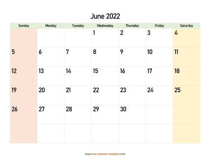 june 2022 calendar colored horizontal