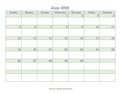 june 2022 calendar daycolored horizontal