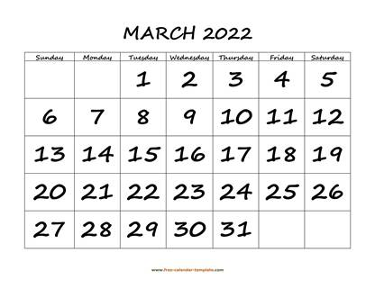 march 2022 calendar bigfont horizontal