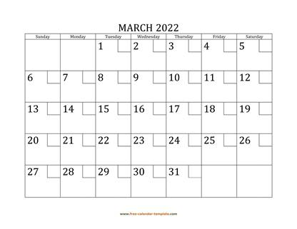 march 2022 calendar checkboxes horizontal
